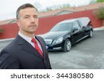 funeral director with car | Shutterstock . vector #344380580