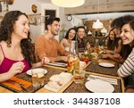 multi ethnic group of happy... | Shutterstock . vector #344387108