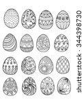 hand drawn easter eggs for... | Shutterstock .eps vector #344398730