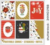 elegant winter cards  notes ...   Shutterstock .eps vector #344401988