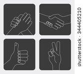 hand gestures design  vector... | Shutterstock .eps vector #344405210