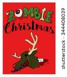 zombie christmas deer   Shutterstock .eps vector #344408039