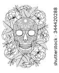 sugar skull. a4 printable... | Shutterstock .eps vector #344420288