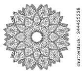 vector henna tatoo mandala.... | Shutterstock .eps vector #344425238