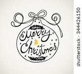 merry christmas lettering in a... | Shutterstock .eps vector #344426150