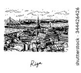 the panorama view of riga ... | Shutterstock .eps vector #344426426