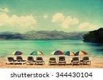 sunshades at playa rincon ... | Shutterstock . vector #344430104