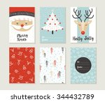 merry christmas greeting card... | Shutterstock . vector #344432789