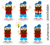 guy with a beard   in various... | Shutterstock .eps vector #344454884