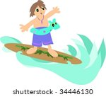 surfer boy vector | Shutterstock .eps vector #34446130