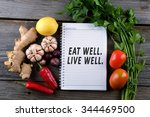 eat well  live well. health... | Shutterstock . vector #344469500