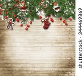 christmas fir tree with cookie... | Shutterstock . vector #344469869