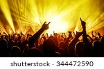 silhouettes of concert crowd in ... | Shutterstock . vector #344472590