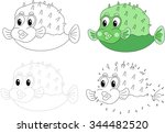 cartoon pufferfish. dot to dot... | Shutterstock . vector #344482520