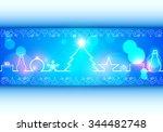 christmas illustration the gift ... | Shutterstock .eps vector #344482748