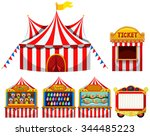 circus tent and game boothes... | Shutterstock .eps vector #344485223