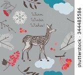 christmas winter deer graphic... | Shutterstock .eps vector #344485586