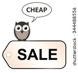 sale label with bird saying... | Shutterstock . vector #344488556