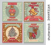 cute cards for christmas and... | Shutterstock .eps vector #344493164