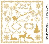 christmas elements   decoration ... | Shutterstock .eps vector #344499698