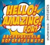 comic alphabet set. gold color... | Shutterstock .eps vector #344518526