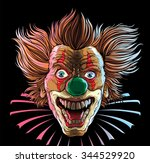 crazy clown head | Shutterstock .eps vector #344529920