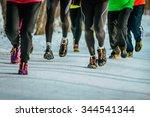 closeup feet group athletes... | Shutterstock . vector #344541344