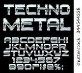 techno metal style letters and... | Shutterstock .eps vector #344544338