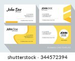 yellow abstract business card... | Shutterstock .eps vector #344572394