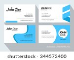 blue abstract business card set.... | Shutterstock .eps vector #344572400