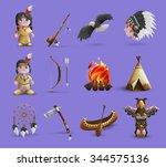 native american cartoon  icons...