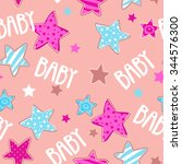 cute girlish seamless pattern ... | Shutterstock . vector #344576300