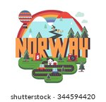 norway in europe is a beautiful ... | Shutterstock .eps vector #344594420