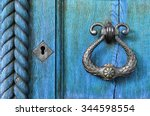 old wooden light blue door ... | Shutterstock . vector #344598554