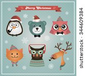 cute christmas fashion hipster... | Shutterstock . vector #344609384
