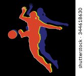 silhouette soccer woman player .... | Shutterstock .eps vector #344618630
