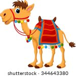 cartoon camel with saddlery | Shutterstock .eps vector #344643380