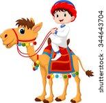 illustration of arab boy riding ... | Shutterstock .eps vector #344643704