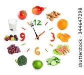 Food Clock With Healthy Food O...