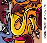 abstract jazz art  music band ... | Shutterstock .eps vector #344647778