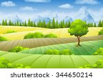 summer landscape with fields ... | Shutterstock .eps vector #344650214