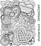 vector coloring book for adult. ... | Shutterstock .eps vector #344662364
