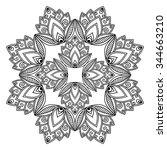 vector henna tatoo mandala.... | Shutterstock .eps vector #344663210