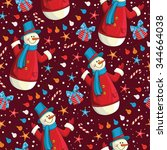 christmas seamless pattern with ... | Shutterstock .eps vector #344664038