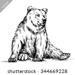 drawn in ink isolated bear... | Shutterstock .eps vector #344669228