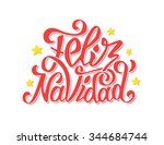 feliz navidad text lettering... | Shutterstock .eps vector #344684744