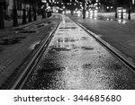 Night View On Wet Tram Rails...