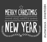 merry christmas and happy new... | Shutterstock .eps vector #344690384