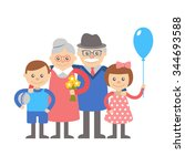 grandmother and grandfather... | Shutterstock .eps vector #344693588