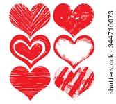 heart icons set  hand drawn... | Shutterstock .eps vector #344710073